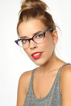 'Betty Jo' Gradient Rhinestone Cat Eye Clear Glasses - Purple #1097-4