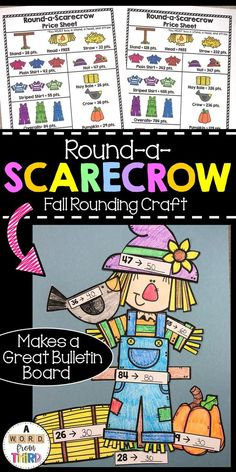 Nov 9, 2019 - This rounding craft is the perfect way to help students have fun while practicing rounding to the nearest 10 and/or rounding to the nearest 100. This craft includes:-Color Directions sheet(s)-2 Versions of the Recording Sheet-Examples of the recording sheet-Color Scarecrow Price Sheets (2)-All scar... Math Strategies, Math Resources, Math Stations, Math Centers, Teaching Math, Teaching Ideas, Engage Ny, Math Place Value, Center Signs