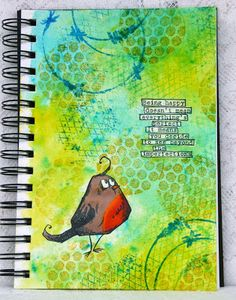 Art journal page using Tim Holtz bird crazy stamp, Brusho crystals and Stampendous NK Studio stamps.