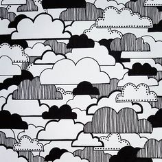 Another cloudy day in the Lower Mainland! - doodle, drawing, clouds, pattern, black and white