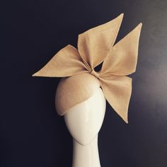 Bow for Lana - custom piece in natural straw face hugger with matching bow details #milliner #millinery #springcarnival #bmwcaulfieldcup