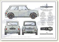 Mini Cooper Classic, Classic Mini, Classic Cars, Retro Cars, Vintage Cars, Auto Vintage, Blueprint Drawing, Mini Morris, Mini Copper