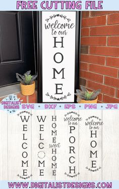 Free Vertical Porch Welcome Sign SVG cut file bundle! This would be amazing for a variety of Porch DIY craft projects such as: HTV T-shirts, mugs, home decor, scrapbooking, stickers, planners, and more! Cricut Design Space and Silhouette Studio compatible. Free vector clip art printable. Cricut Svg Files Free, Cricut Fonts, Cricut Vinyl, Free Svg Cut Files, Proyectos Cricut Explore, Cricut Explore Projects, Animated Gifs, Porch Welcome Sign, Cricut Tutorials