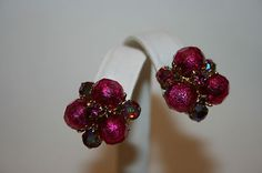 VTG VOGUE SIGNED ROUND HOT PINK BEADED & CRYSTAL AB CLIP EARRINGS IN GOLDTONE