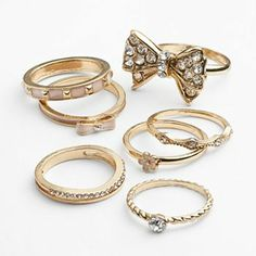 Candie's Gold Tone Simulated Crystal Bow, Flower and Textured Stack Ring Set