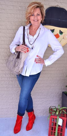 50 Is Not Old   Simple & Casual   White Shirt + Jeans   Red Boots
