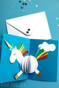Unicorn Card DIY - Red Ted Art - Make crafting with kids easy & fun - - Easy Unicorn Card DIY. Learn how to make these Unicorn Card DIY - either from scratch or make use of the free unicorn printables. Diy Jewelry To Sell, Diy Crafts To Sell, Diy For Kids, Crafts For Kids, Fun Crafts, Kids Fun, Simple Crafts, Creative Crafts, Creative Ideas