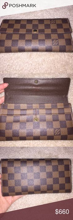 Authentic Louis Vuitton snap wallet Damier canvas, great condition, some minor wear/usage, four front card slots, inner large pocket, coin zipper divides two pouch areas, six card slots inside wallet; minor wear to the stitching on corners & little spot on back as pictured. Louis Vuitton Bags Wallets