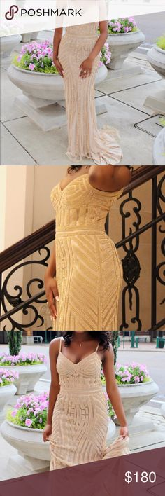 Beige Rhinestone Dress Gorgeous formal dress for any occasion Dresses Prom