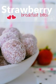 Strawberry breakfast bites are a healthy low sugar energy ball packed with oats and sunflower seeds. Perfect as a snack or lunch box item