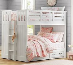 Belden Full-Over-Full Bunk #pbkids Pam we could put two of these in the green bed/older girl room. Since the ladders aren't on the side--it wouldn't take up as much space.  Or, i'm thinking 2 full beds, and one with a twin bunk on top....on the wall to the left when you look into the room.