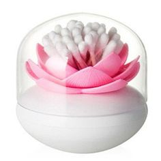 iLory Lotus Flower Cotton Swab Bud Holder, Small Q-tips Toothpicks Storage Organizer Case Box, Pink