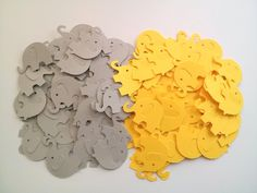 Yellow and Gray Elephant Die Cuts Yellow and Grey Table Confetti Baby Shower Decoration Paper elephants yellow baby shower yellow kids party