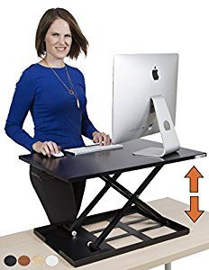 Amazon.com: Standing Desk - X-Elite Pro Height Adjustable Desk Converter - Size 28in x 20in Instantly Convert any Desk to a Sit / Stand up Desk (Black): Kitchen & Dining