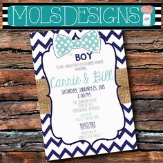 Any Color Oh Boy BABY SHOWER BOWTIE Bow Tie Burlap Chalkboard Navy Blue Grey Chevron Polka Dot Sip See Birthday Sprinkle Vintage Invitation
