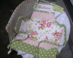 Monogrammed Girls Aprons - Cottage Chic Aprons - Lacey Aprons Pink Roses - Vintage Linens Apron - Shabby Chic Aprons - Annies Attic Aprons