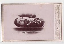 Circa 1890s Old Cab. Photo Close View Young Man Death Post Mortem Open Coffin
