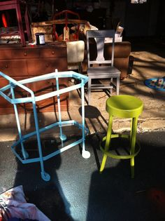 turquoise drink cart and apple green stool.