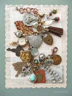 Heirloom Trinkets Charm Bracelet - recycled vintage materials