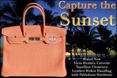 35cm Hermès Crevette Taurillon Clemence Leather Birkin Handbag with Palladium Hardware - Capture the Sunset