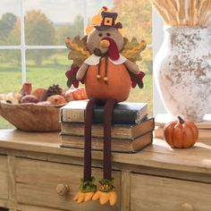 Decorate your book shelves and tables with our Shelf Sitters! We have a Harvest Owl, Scarecrow Boy, Scarecrow Girl or Turkey that are all adorable for fall and Thanksgiving!