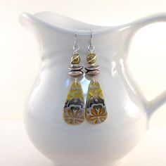Mustard and Silver Tribal Earrings Polymer by CinLynnBoutique
