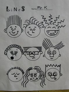 Line Caricature Portraits | One Day Art Projects | Design cartoon faces using only one type of line for each face.