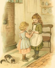 Victorian 1895 Raphael Tuck Antique Childrens Print . Two girls standing playing string game- Cats Cradle.