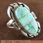 Sterling Silver Native American Ray Jack Opal Inlay Ring