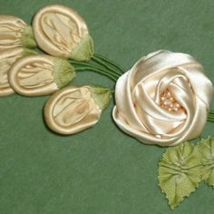 SILK SATIN Rose Bouquet With Antique French Ribbon & Buds