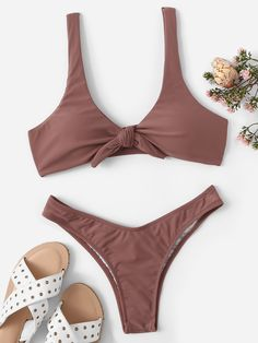 92a0617b0e Snakeskin Print Underwire Top With High Cut Bikini   SHEIN   Someday ...