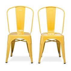Carlisle High Back Metal Dining Chair - Yellow (Set of 2)