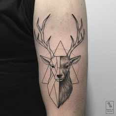 What does deer tattoo mean? We have deer tattoo ideas, designs, symbolism and we explain the meaning behind the tattoo. Dreieckiges Tattoos, Trendy Tattoos, Tattoo Drawings, Body Art Tattoos, Small Tattoos, Tatoos, White Tattoos, Hand Tattoos, Sleeve Tattoos