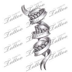 Marketplace Tattoo Shaded Diamonds + Triple Banner Tattoo #6127 | CreateMyTattoo.com