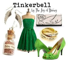 Disney Bound: Tinkerbell from Peter Pan/Pixie Hollow movies; by The Joy of Disney Disney Themed Outfits, Disney Inspired Fashion, Character Inspired Outfits, Disney Dresses, Disney Fashion, Disney Inspired Dresses, Disney Clothes, Fashion Fashion, Prom Dresses