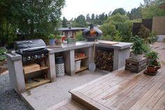 Bilderesultat for utekjøkken Outdoor Landscaping, Outdoor Gardens, Outdoor Fire, Outdoor Living, Pantry Inspiration, Garden Makeover, Summer Kitchen, Backyard Bbq, Outdoor Furniture Sets