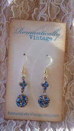 Vintage Rhinestone Crystal Beaded Earrings by RomanticallyVintage, $12.00