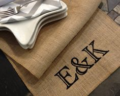Burlap Personalized MONOGRAM Table Runners