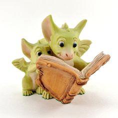 Vintage Pocket Dragon Figurine Reading the Good Parts circa 1980's England.