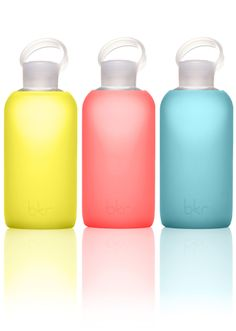 These water bottles are so nice. All glass, and silicone sleeve! WANT