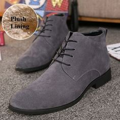 aaafb6849a8 Men Cow Leather Pointed Toe Plush Lining Casual Boots is fashionable