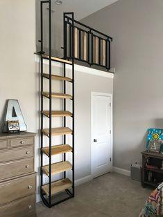 9 ft Loft ladder, Librarian (shipping is ABF trucking loading dock to AFB loading dock ) Rachel Williams, Loft Railing, Loft Stairs, Attic Stairs Pull Down, Living Pequeños, Tiny Loft, Attic Bedrooms, Loft In Bedroom, Loft Room