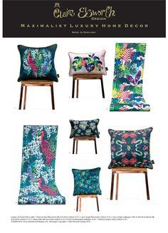 Maximalist Luxury Home Decor - Claire Elsworth Design - The Interior Editor Living Room Cushions, Cushions On Sofa, Cushion Inspiration, Home Decor Inspiration, Luxury Home Decor, Luxury Homes, Black And Gold Bathroom, Maximalist Interior, Sustainable Furniture