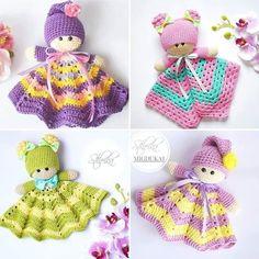 Crochet Security Blanket, Crochet Lovey, Crochet Teddy, Baby Girl Crochet, Crochet Bunny, Crochet Gifts, Cute Crochet, Crochet For Kids, Crochet Dolls