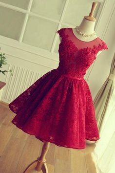 Scoop A-line Short Red Lace Homecoming Dress,Prom Dress,Graduation Dress,Party Dress,Short Homecoming Dress,Short Prom Dress,Homecoming Dress 2016,ED02