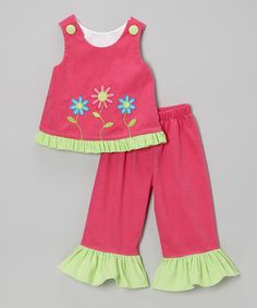 Take a look at this Hot Pink Flower Corduroy Top & Pants - Infant, Toddler & Girls by Castles & Crowns on #zulily today!