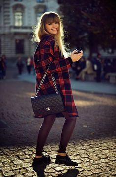 5. Tartan Coat With Trendy Footwear 2017 Street Style