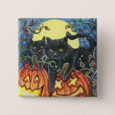 Jack-O'-Lantern and Black Cats Pinback Button - accessories accessory gift idea stylish unique custom
