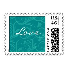 Teal Rose Graphic Love Postage