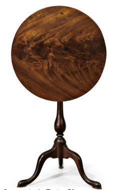 A CHIPPENDALE FIGURED MAHOGANY TILT-TOP CANDLESTAND   LABELED BY THOMAS BURLING (w. 1769-1797), NEW YORK, 1780-1800   28½ in. high, 22 in. diameter